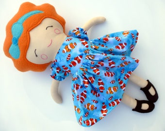 Redhead cloth doll, red hair doll, modern rag doll, doll with curly hair, light skin tone, blue soft doll, gift for girl, clown fish dress