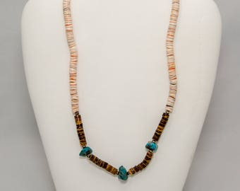 SET of Hawaiian Puka Shell Necklaces with Turquoise