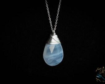 Lace agate pendant / wire wrapped pendant / blue stone pendant / silver pendant / delicate necklace / dainty necklace / silver necklace