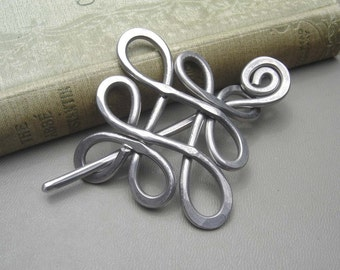Looping Celtic Crossed Knots Shawl Pin, Scarf Pin, Sweater Brooch, Hair Pin, Aluminum Hair Slide, Gifts for Knitters Knitting Accessories