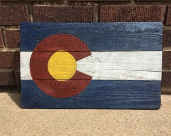 "Wood Colorado Flag/ Wood Colorado Sign/ Colorado Decor/ 17.75"" x 12"""