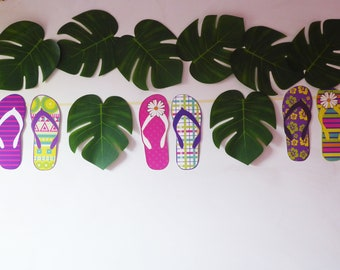 Summer party tropical beach flip flop garland, seaside, tropical beach party banner decoration