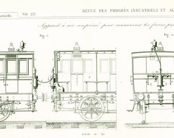1853 Antique Train Print. Original Engraving. Armengaud. Technical Design Paris Industrial Style Railway Steam  French antiques