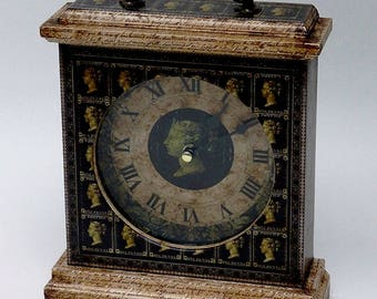 Postage Stamp Clock. Penny Black Stamp. Decorated Carriage Clock. Unique Clock. Victorian Clock. Penny Black Clock. Mantel Clock. Clock.