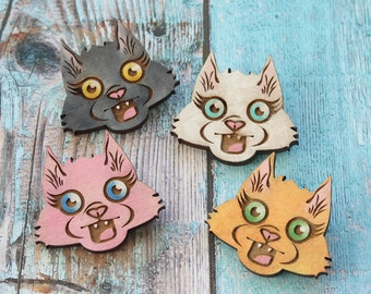 Choose the Color ONE Kitty Hand Painted Lasercut Wood Pin