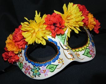 Multi Colored Day of the Dead Mask - Halloween Mask - READY TO SHIP