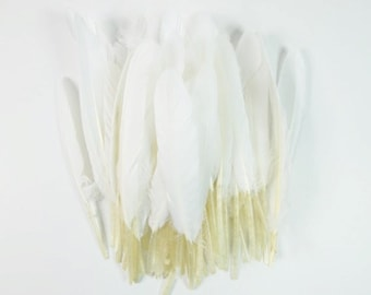 25 White Duck Feathers White Feathers Craft Duck Feathers Unique Feathers Wedding Feathers Hat Embellishment