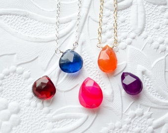 Tiny Gemstone Necklace | Sterling Silver or 14k Gold Filled | Choose Your Gemstone Teardrop Pendant | Minimalist Necklace