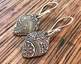 Sterling Silver and Embossed PMC Floral and Paisley Earrings