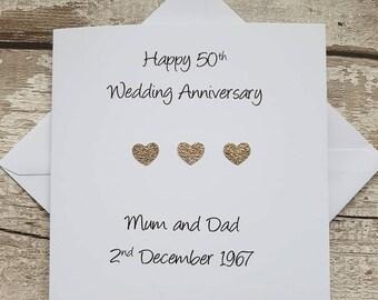 Personalised 50th wedding anniversary card handmade for golden anniversary