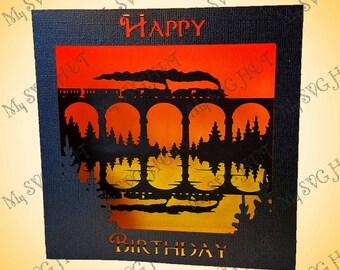Steam Train  REFLECTION Birthday Greetings box card