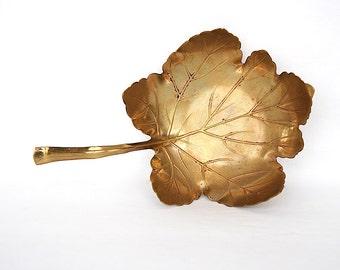 Vintage Brass Leaf Dish - Maple Leaf Decor - Art Nouveau Decor -Vintage Brass Decor - Brass Trinket Dish - Brass Ring Dish Apollo Studios NY