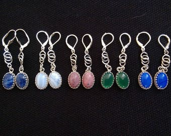 Oval stone cabochon and sterling drop earrings.  purple white pink and green and blue.  Long dangle earrings.