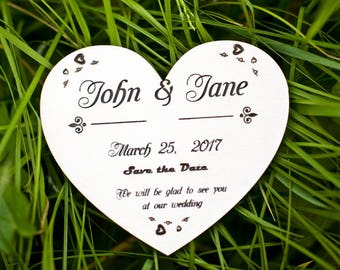 Save The Date Card Heart - Wooden wedding announcement - Save the date magnet - Wooden invitation card