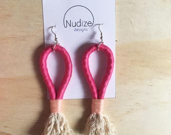 """Handmade statement rope dangle earrings // gifts for her // """"Pink fusion"""""""