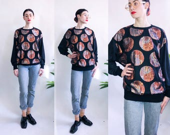 80's Metallic Yin Yang Pullover - Sprouts by Vicky Vaughn