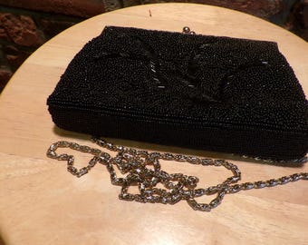 Elka Black beaded handbag, Beaded handbag, Elka clutch purse, Evening clutch purse, small black bag