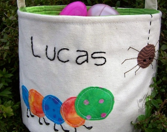 Easter Basket Personalized HANDMADE in Backyard Bugs/ Boy Easter Basket/ Easter Basket with Name