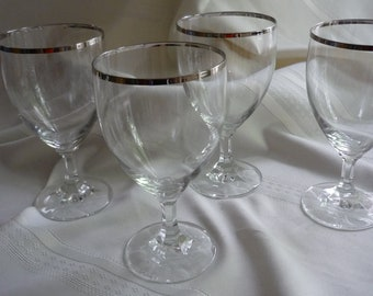 Gorgeous Set of 4 Goblets with Platinum Band