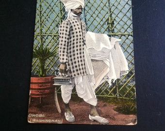 Vintage Postcards From India pre 1900s Occupants of India Original Colour Postcards of the life and lifestyle in India. Dhobi Washing man