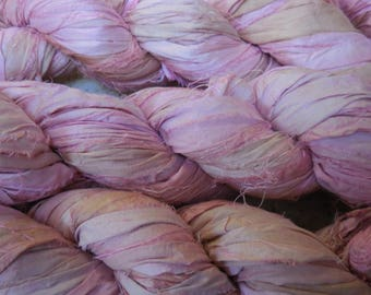 SALE  50 Yards,  Shades of Light Pink with Ecru,  Shabby,  100 Grams,  Sari Silk Ribbon,  Fair Trade from India