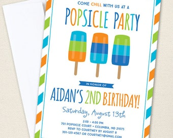 Popsicle Party Invitations (Boy Colors) - Professionally printed *or* DIY printable