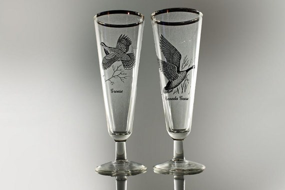 Pilsner Glasses, Sportsman, Federal Glass, Set of 2, Clear Glass, Grouse, Canada Goose, Beer Glasses