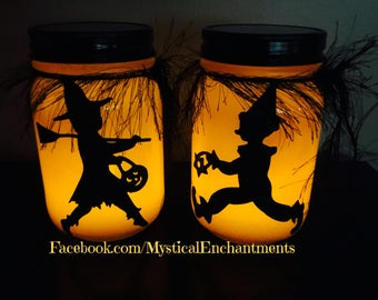 Set of 2  pint Mason jar Halloween Luminary Halloween Lantern