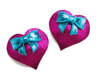 Hot Pink Glittered Heart Burlesque Boobie Pasties with Turquoise Sequin Bows