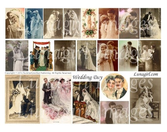 VINTAGE WEDDINGS digital collage sheet, vintage brides photos cards, Victorian women couples flappers romance, altered art ephemera DOWNLOAD