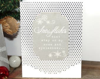 Handmade Christmas Card, White Silver, Snowflakes, Vintage Look, Free US Shipping