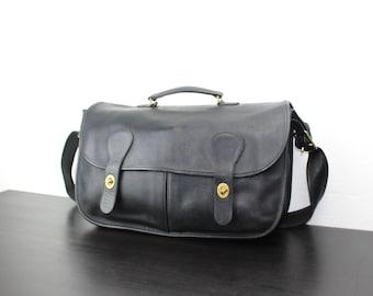 Vintage Coach Musette Bag Black Leather, Messenger, Shoulder Satchel, Laptop Carrier, Briefcase Bag, 1990s United States 040566