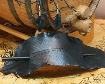 Raven Feather Bundle Leather Barrette and Earrings , Renaissance, SCA, Pirate, Steampunk