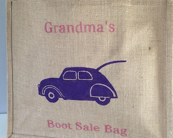Grandma's Car Boot Sale Bag hand painted jute shopping bag- large. Burlap car bag, hessian tote bag, bag for life. Funny gift. Gift for Nan