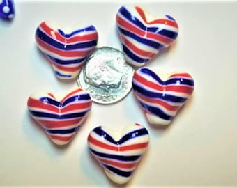 5 Red White and blue hearts