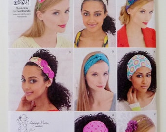 Fabric Headbands, Optional Bird and Flower Felt Embellishments, Simplicity 1791 Sewing Pattern Hair Accessories, One Size UNCUT