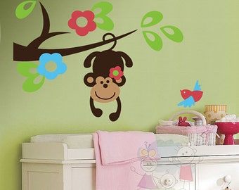 Monkey Wall Decal - On the Tree Branch - Nursery Wall Stickers - PLSF040R
