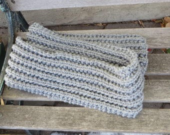 Mens Scarf, Chunky Knit Grey Scarf, 6 x 72 inches Knitted Gray Scarf