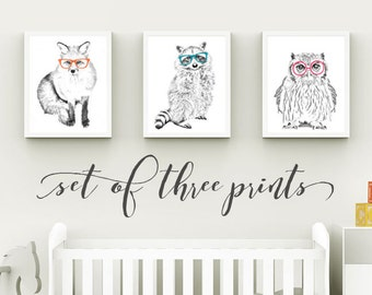 Forest Nursery, Forest Animals, Forest Print, Fox, Raccoon, Owl, Glasses, Forest Nursery Decor, Set of Three PRINTS, 5x7, 8x10, 11x14, 16x20