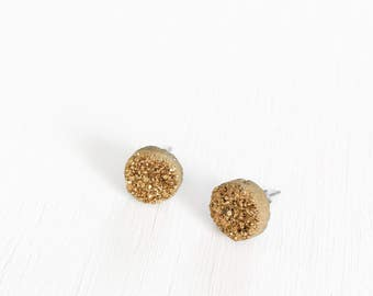 Gold Natural Druzy Stud Earrings//10mm studs//surgical stainless steel earrings//birthday gifts for her//gifts for her//druzy studs//quartz