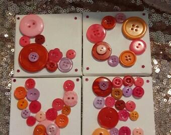 LOVE canvass button wall art