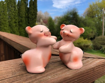 Pink Bear Salt and Pepper Shakers
