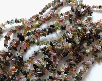 "A Grade Multicolor Tourmaline Chips Hong Kong Beads 4-6 mm Full 16"" Strand P260"