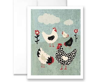 Cute Chickens in a Field - Birthday Card