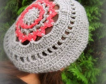 Unique hand crocheted gray and red wool beret