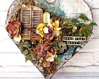 Home decoration - Mixed media art on canvas - Steampunk heart - Steampunk gift - Housewarming gift - Inspirational gift - Altered - Rust