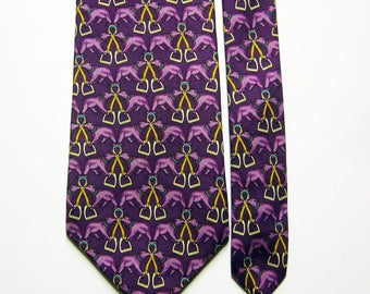 Vintage Silk Bear w/ Stirrups Pattern Necktie - Purple Multicolor, Orange - Brooks Brothers Tie - Polar Bear