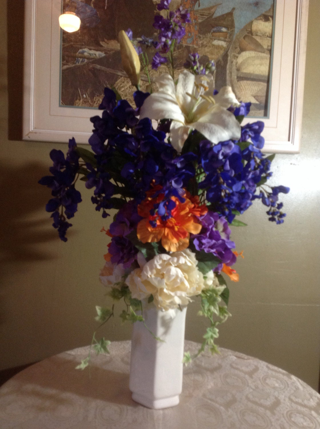 Faux silk flower arrangement in tall cream octagon vase with zoom reviewsmspy