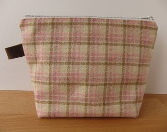 Vintage Pink Plaid Wool and Leather Large Zipper Pouch Bag
