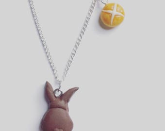 Easter bunny necklace, chocolate easter bunny necklace, Easter pendant, Easter necklace, hot cross bun necklace, Easter bun necklace